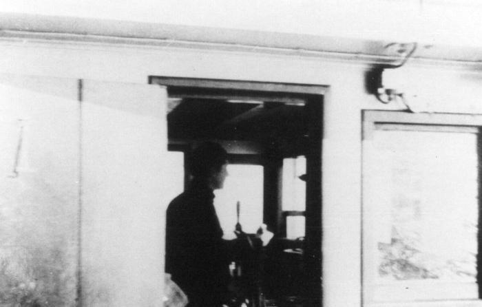Man at helm, 1944. Item number: HCSW-40-11.