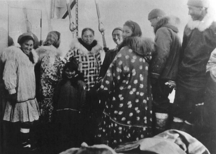 Inuit group on aft deck, 1944. Item number: HISG-40-02.