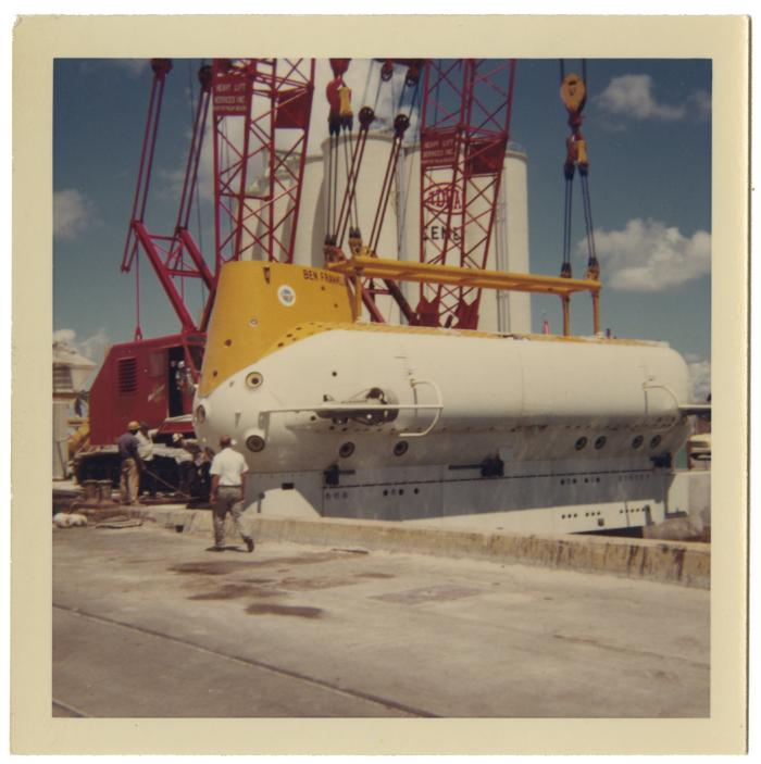 <i>Ben Franklin</i> being lowered into water, August 1963. Item number: LM2017.010.012.