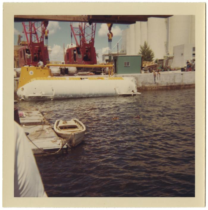 <i>Ben Franklin</i> being lowered into water, August 1963. Item number: LM2017.010.014.