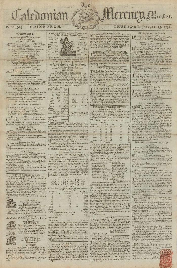 The Caledonian Mercury, no. 10, 821