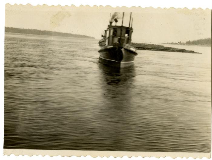 Benson's Tug Boat with boom in tow, Johnstone Strait (VMM71.37)