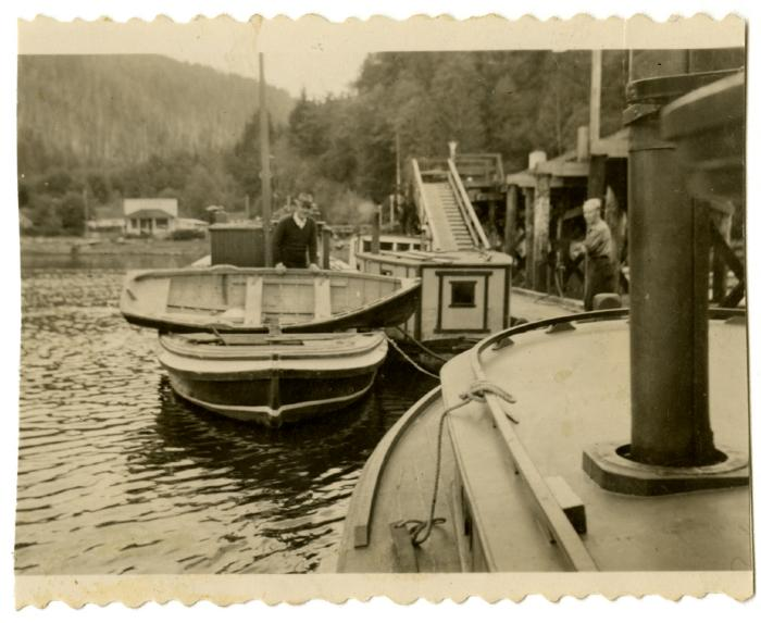 Kelsey Bay, fish inspector and his boat (VMM71.31)